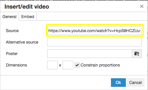 In the insert/edit video box put the URL of the video you want to insert into your JAMSpiritSites gym website.