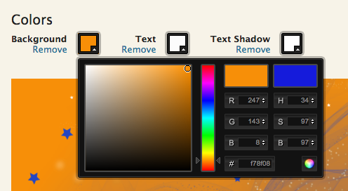 JAMSpiritSites allows you to select the background color, text color, and text shadow color of the graphic in Hero on your dance website.