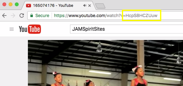 After uploading your YouTube videos, copy the YouTube ID to insert a background video to your JAMSpiritSites gym website.